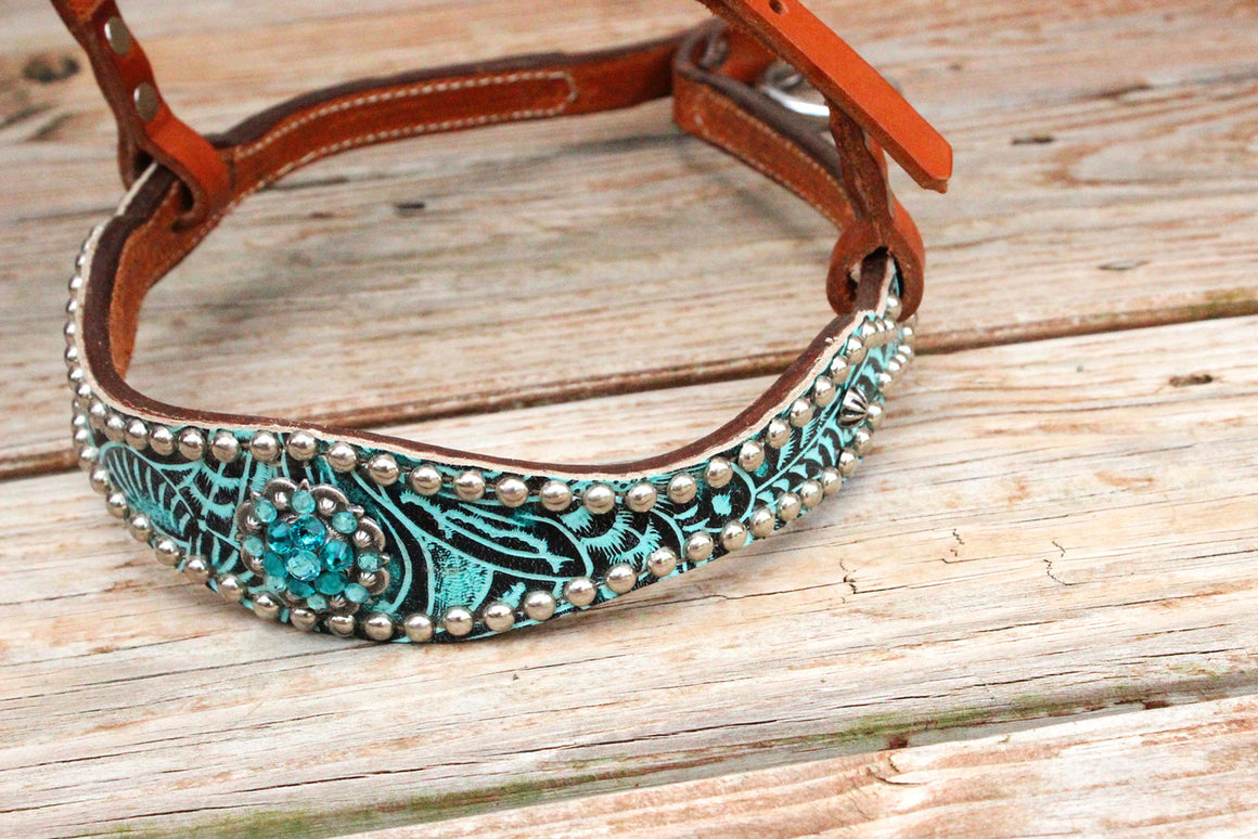 Teal Filigree/Tan Leather TieDown w/Teal & Turquoise Crystal Rhinestone Concho