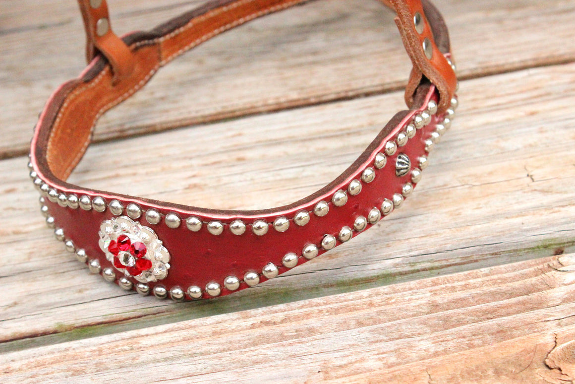 Red Ostrich/Tan Leather TieDown w/Red &Clear Crystal Rhinestone Concho