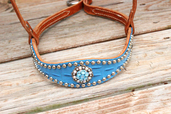 Lt. Blue Gator/Tan Leather TieDown w/AB & Aqua Crystal Rhinestone Concho