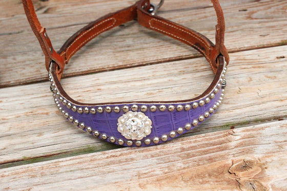 Grape Gator/Tan Leather TieDown w/Clear Crystal Rhinestone Concho