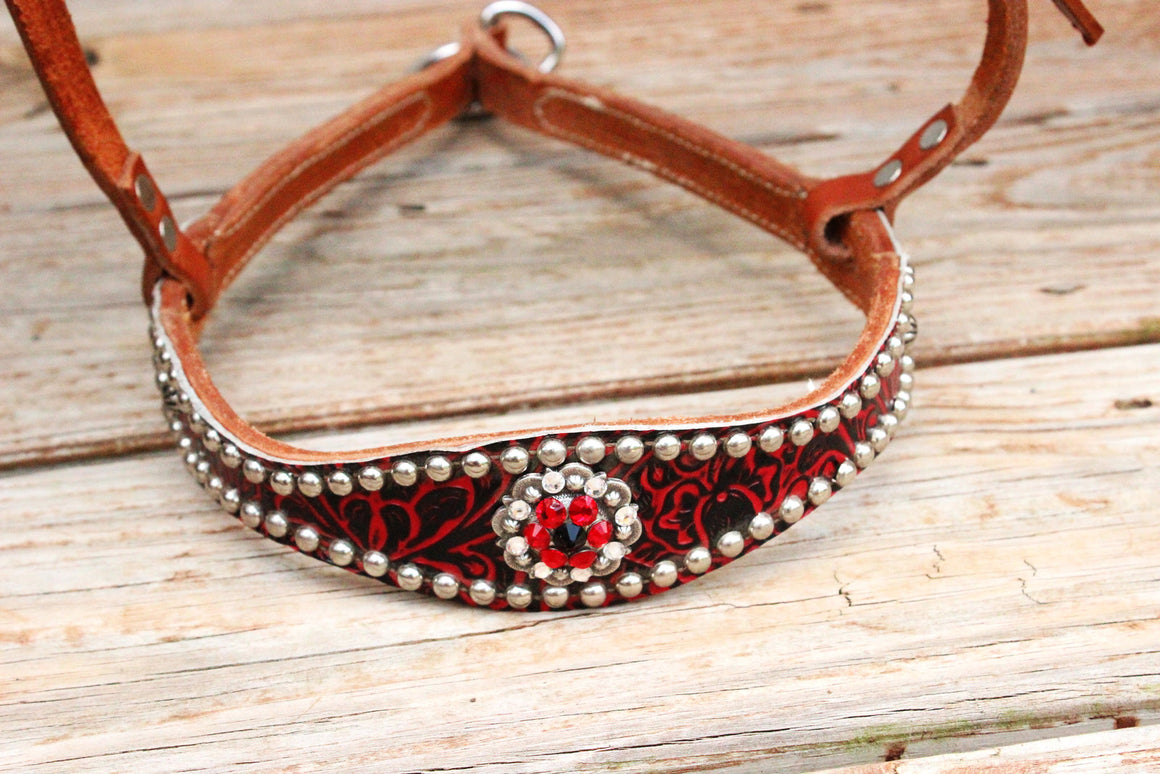Red Filigree/Tan Leather TieDown w/Red, Clear & Black Crystal Rhinestone Concho
