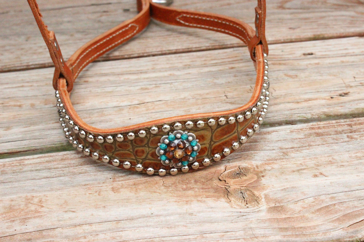 Antique Tan Gator/Tan Leather TieDown w/Teal, Smk Topaz & Champagine Crystal Rhinestone Concho