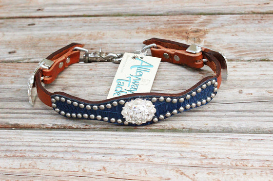 Navy Gator/Tan Leather Wither Strap w/Clear Crystal Rhinestone Concho & Buckles