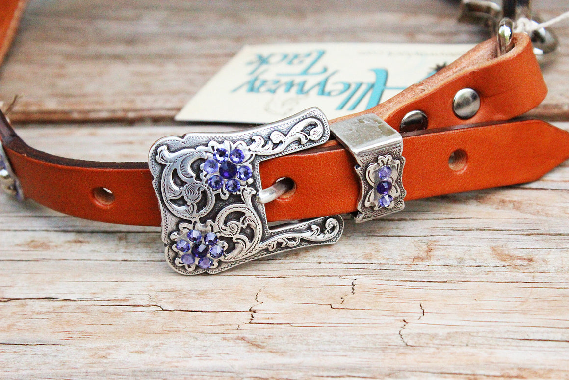 Grape Gator/Tan Leather Wither Strap w/Purple Crystal Rhinestone Concho & Buckles