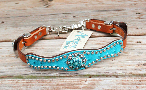Turquoise Ostrich/Tan Leather Wither Strap w/Teal & Turquoise Crystal Rhinestone Concho