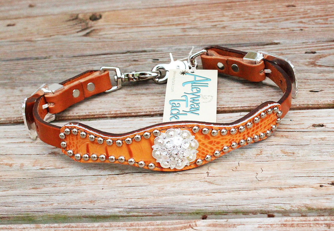 Tangerine Gator/Tan Leather Wither Strap w/Clear Crystal Rhinestone Concho