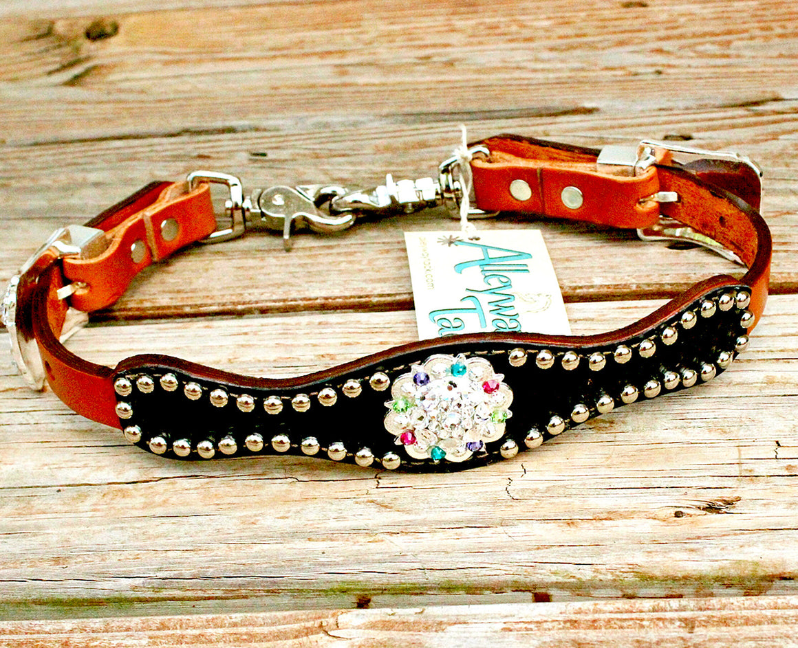 Black Gator Wither Strap w/Tan Leather/Clear, Pink, Purple, Lime & Teal Crystal Rhinestone Concho