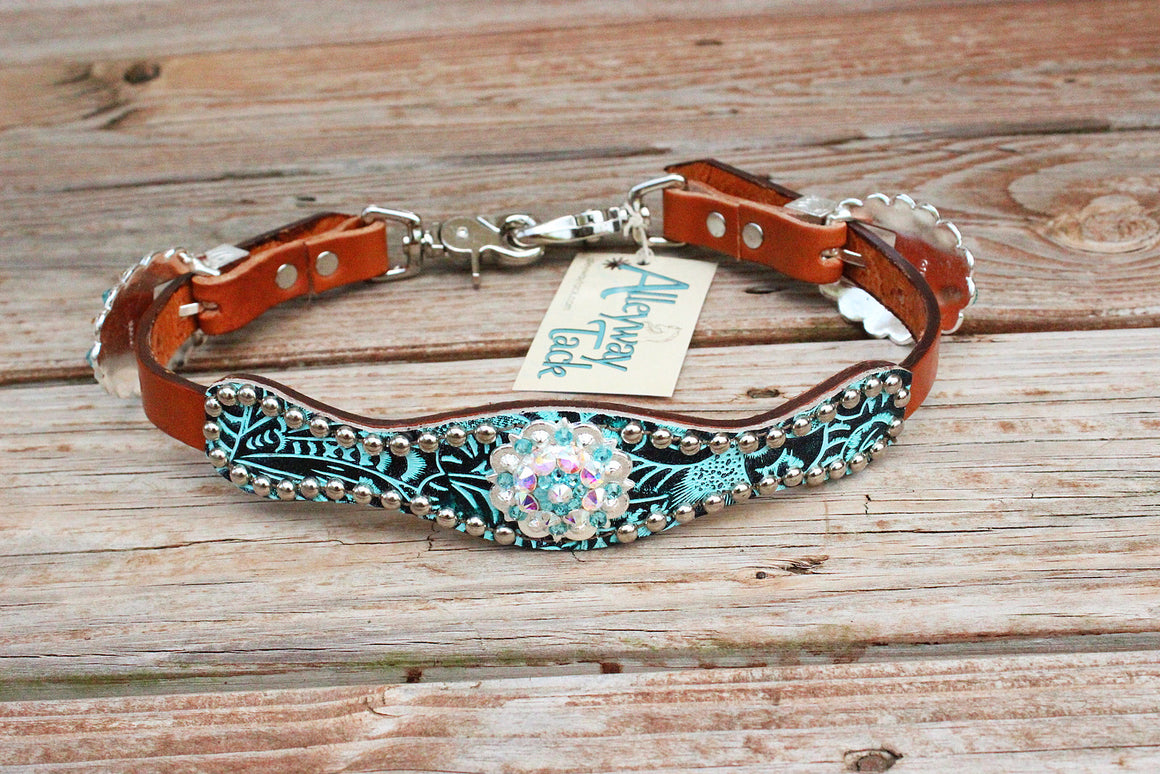Teal Filigree / Tan Leather Wither Strap W/AB & Turquoise Crystal Rhinestone Concho