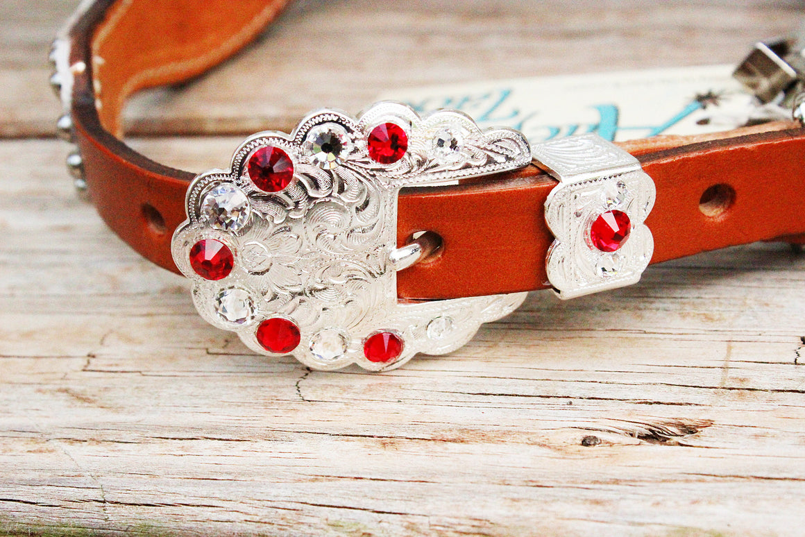 White Gator/Tan Leather Wither Strap w/Red & Clear Crystal Rhinestone Concho