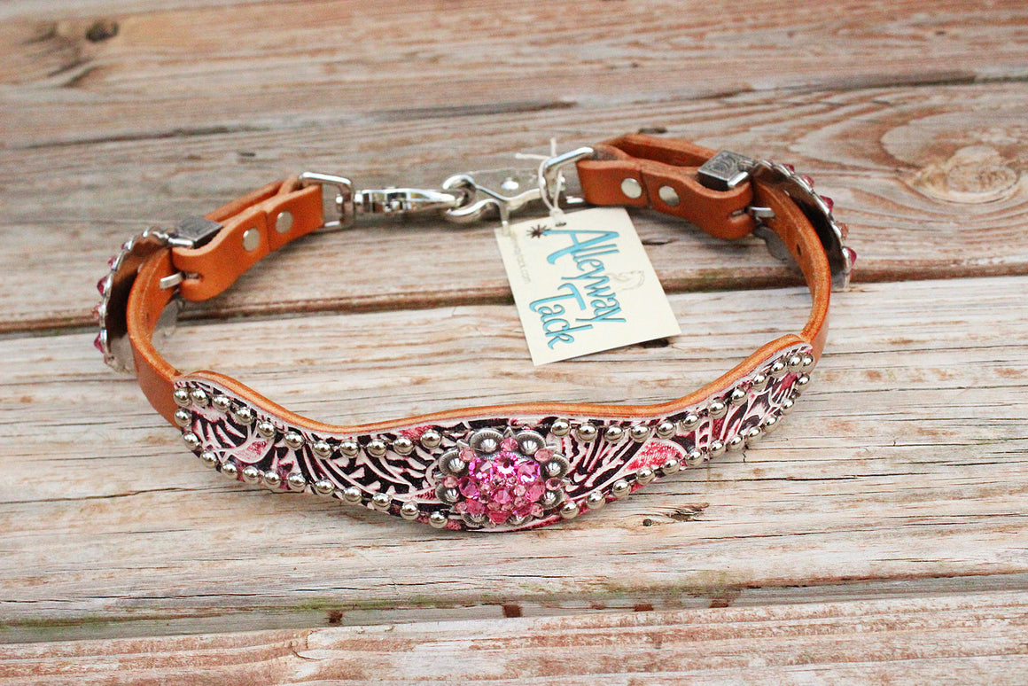 Pink Filigree/Tan Leather Wither Strap w/Pink Crystal Rhinestone Concho & Buckles