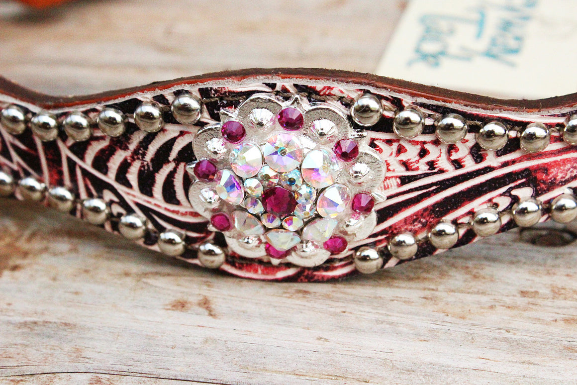 Pink Filigree/Tan Leather Wither Strap w/AB & Fuchsia Crystal Rhinestone Concho