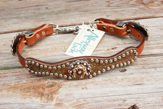 Antique Tan Gator/Tan Leather Wither Strap w/Smk Topaz & Lt. Topaz Crystal Rhinestone Concho