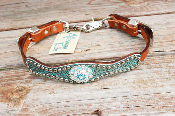 Antique Teal Gator Wither Strap w/Tan Leather/AB & Turquoise Crystal Rhinestone Concho