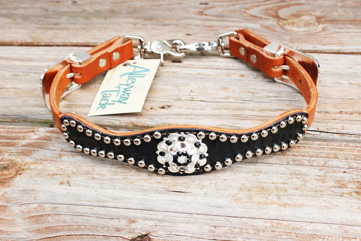 Black Gator Wither Strap w/Tan Leather/Jet & Clear Crystal Rhinestone Concho
