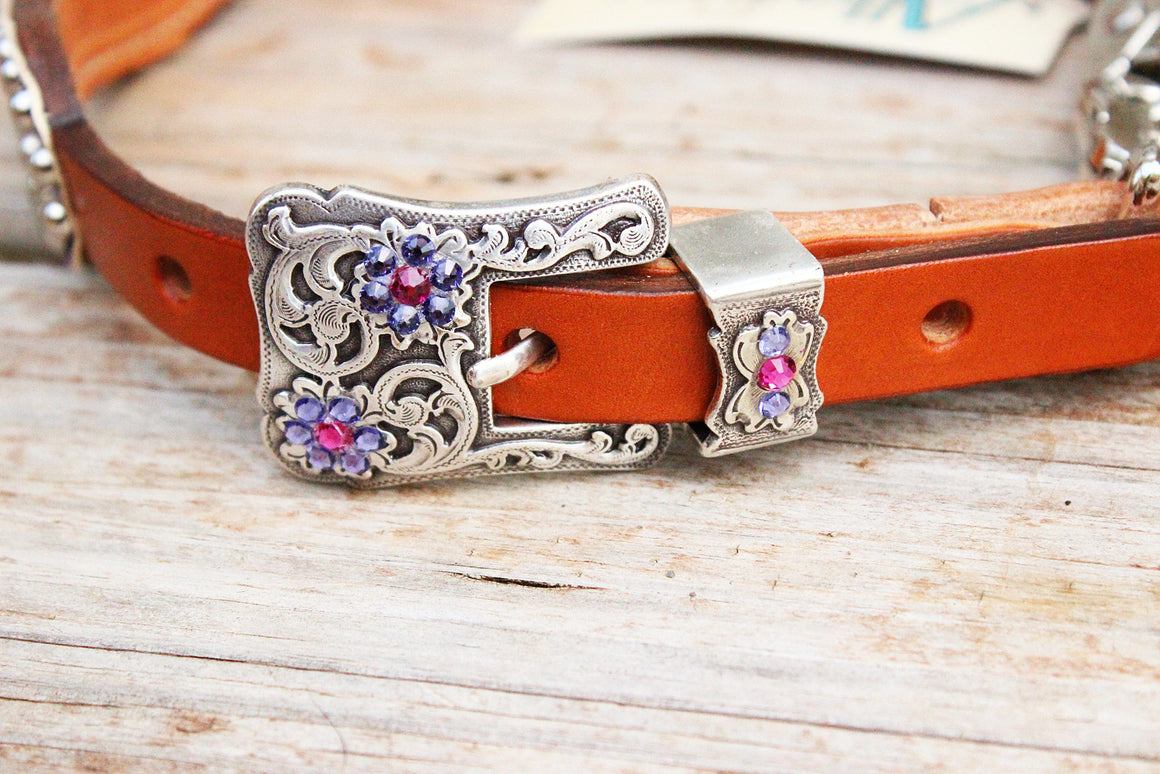 Antique Purple Gator/Tan Leather Wither Strap w/Purple & Fuchsia Crystal Rhinestone Concho