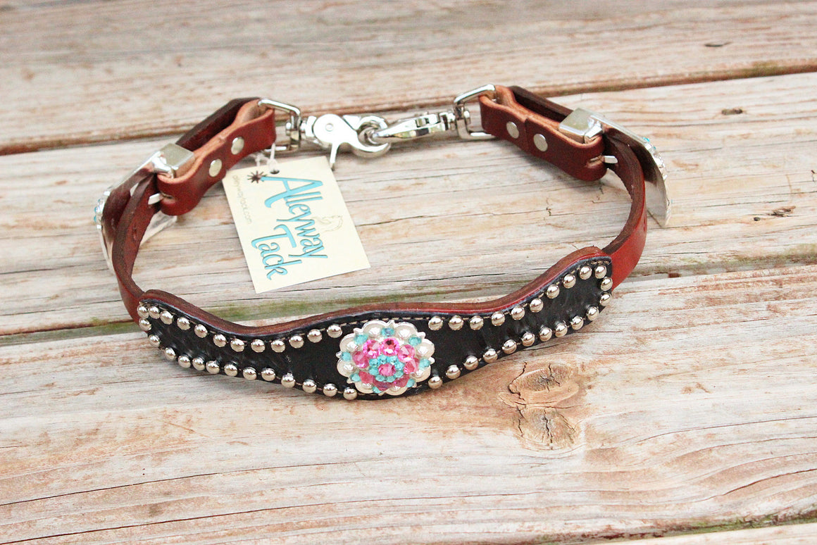 Black Gator Wither Strapw/Chestnut Leather/Turquoise & Pink Crystal Rhinestone Concho