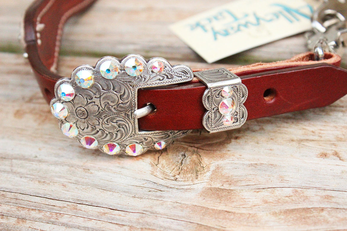 Purple Filigree/Chestnut Leather Wither Strap w/AB Crystal Rhinestone Concho