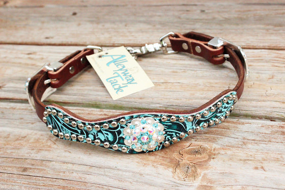 Teal Filigree /Chestnut Leather Wither Strap w/AB & Turquoise Crystal Rhinestone Concho
