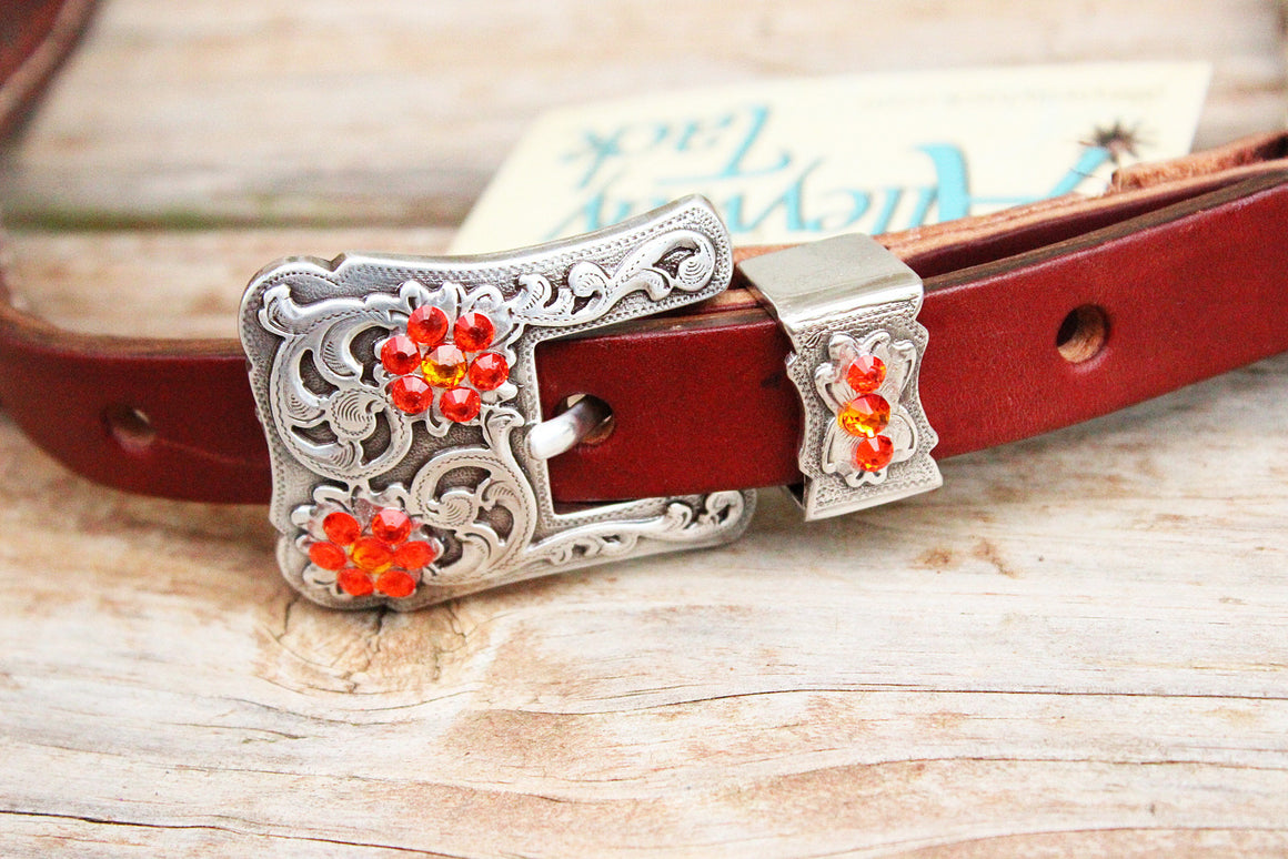 Brown Gator Wither Strap w/Chestnut Leather /Fire Opal, Orange & Clear Crystal Rhinestone Concho