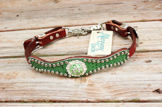 Green Gator Wither Strap w/Chestnut Leather/ Lime & Clear Crystal Rhinestone Concho