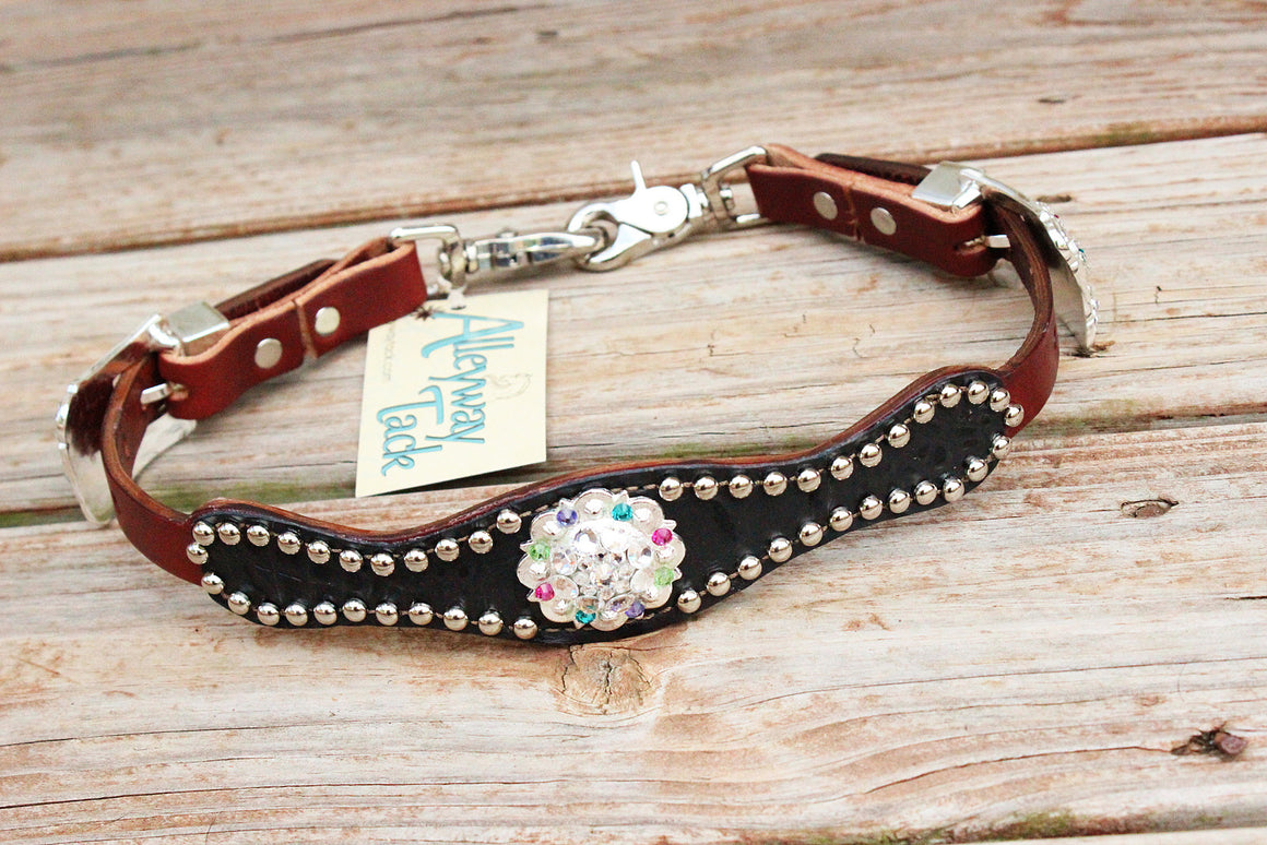 Black Gator Wither Strap w/Chestnut Leather /Clear, Pink, Purple, Lime & Teal Crystal Rhinestone Concho