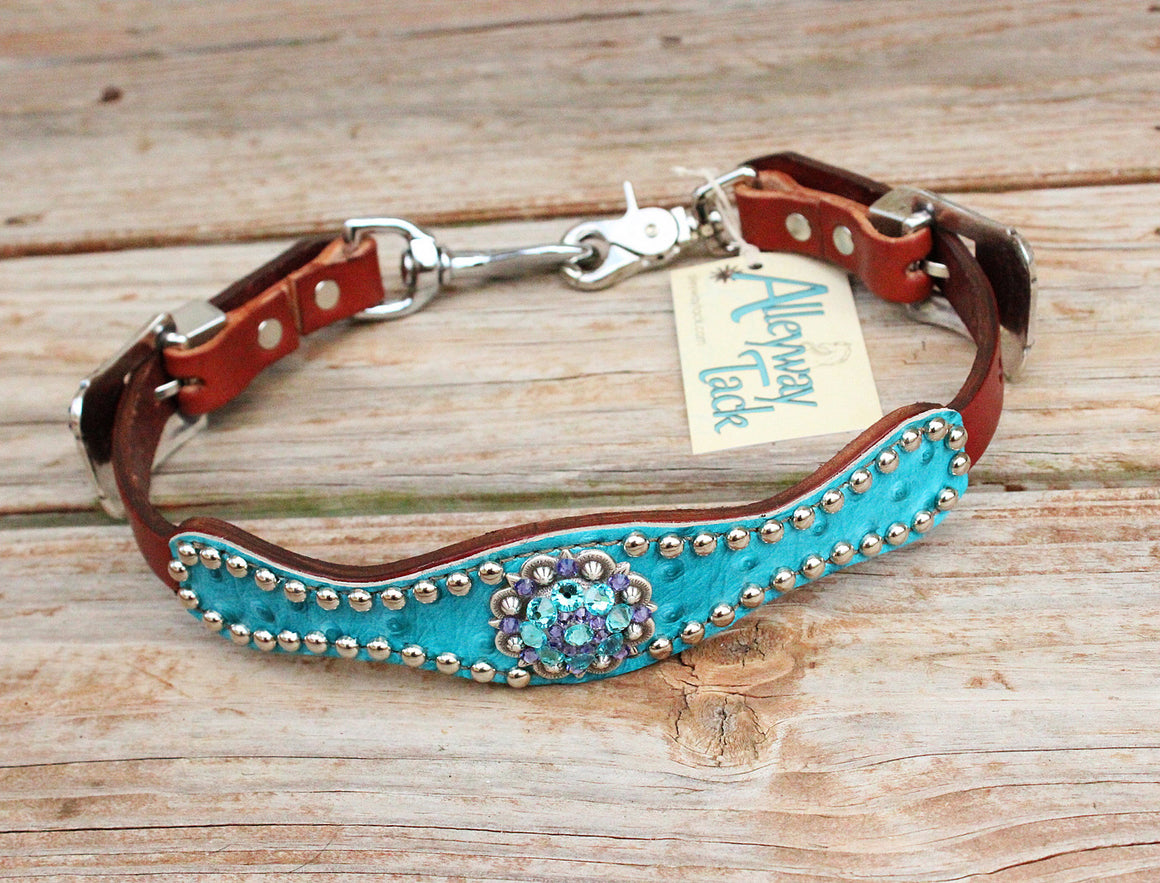 Turquoise Ostrich/Chestnut Leather Wither Strap w/Purple & Turquoise Crystal Rhinestone Concho