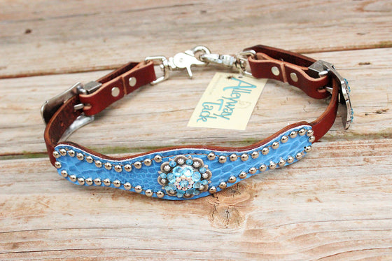 Lt. Blue Gator Wither Strap w/Chestnut Leather /AB & Aqua Crystal Rhinestone Concho