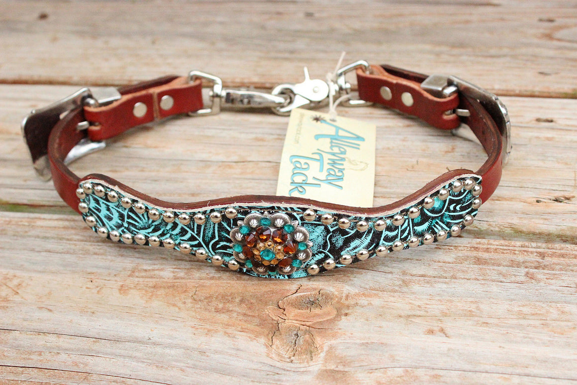 Teal Filigree/Chestnut Leather Wither Strap w/Teal, Topaz & Lt. Topaz Crystal Rhinestone Concho