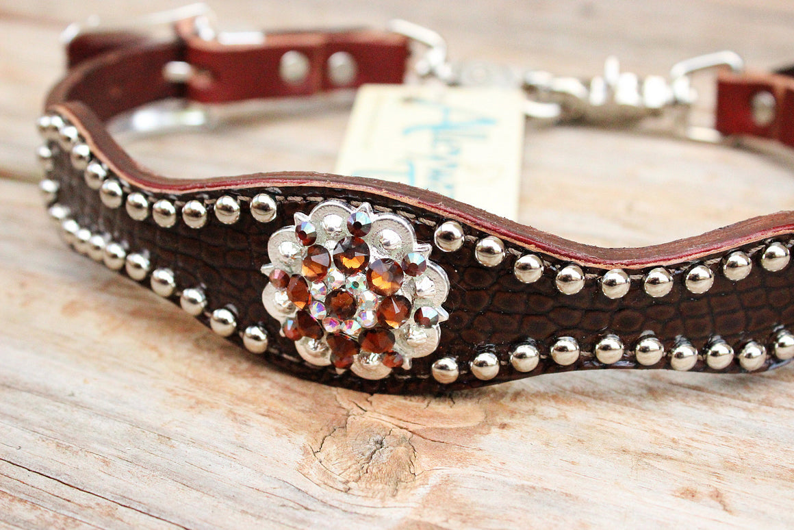 Dk Brown (Acorn) Gator Wither Strapw/Chestnut Leather/AB & Smk Topaz Crystal Rhinestone Concho