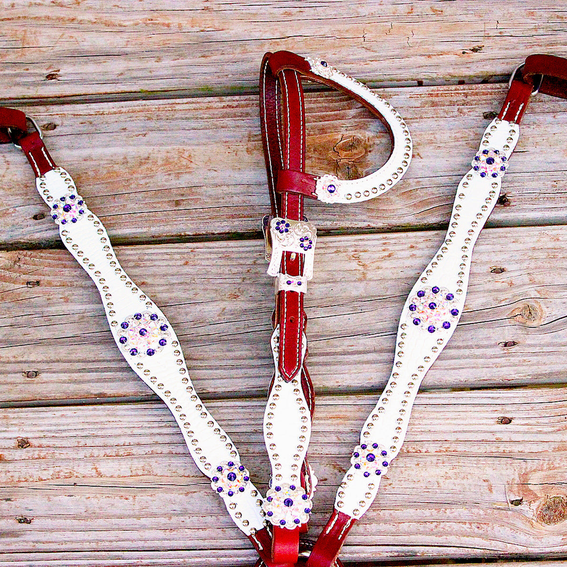 White Gator/Chestnut Leather One Ear Tack Set w/AB-Purple Crystal Rhinestone Conchos