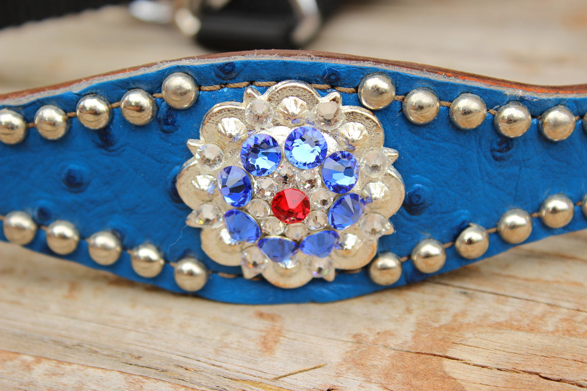 Royal Blue Ostrich/Tan Leather Bronco Halter w/Red, Clear & Sapphire Crystal Rhinestone Conchos