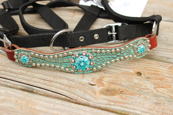 Antique Teal Gator/Chestnut Leather Bronco Halter w/Teal & Turquoise Crystal Rhinestone Conchos