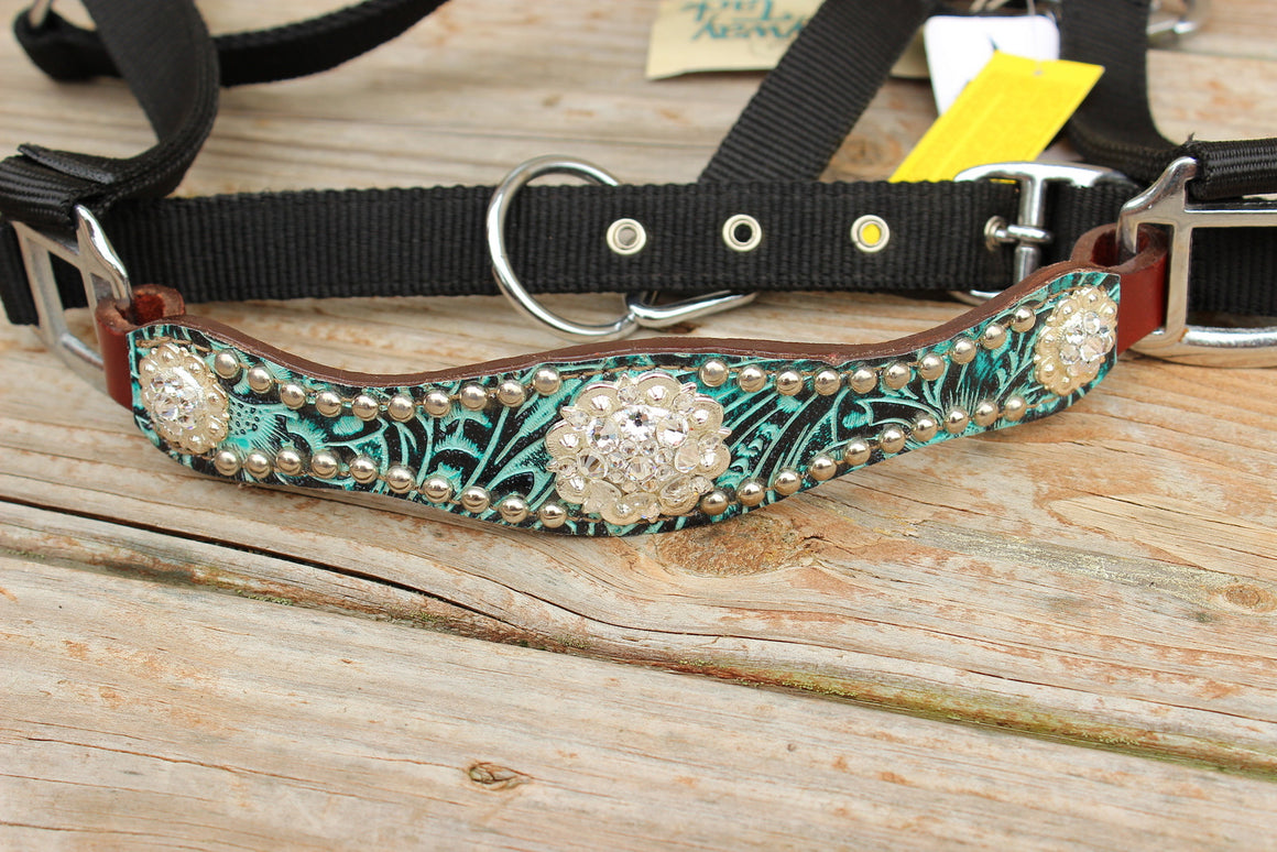 Teal Filigree/Chestnut Leather Bronco Halter w/Clear Crystal Rhinestone Conchos