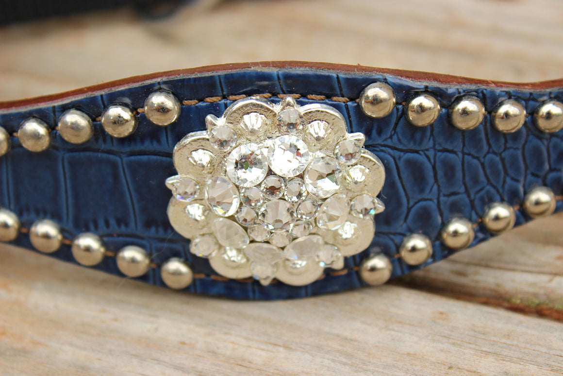 Navy Gator/Chestnut Leather Bronco Halter w/Clear Crystal Rhinestone Conchos