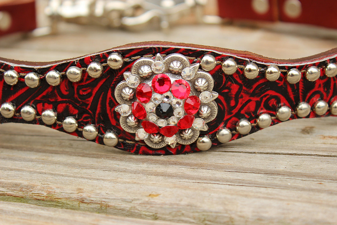 Red Filigree/Chestnut Leather Wither Strap w/Red, Clear & Jet Crystal Rhinestone Concho