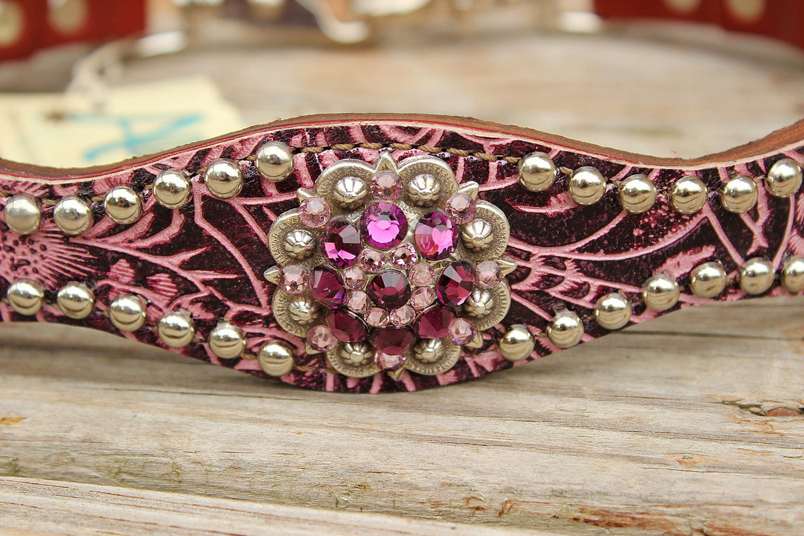 Purple Filigree/Chestnut Leather Wither Strap w/Amethyst Crystal Rhinestone Concho