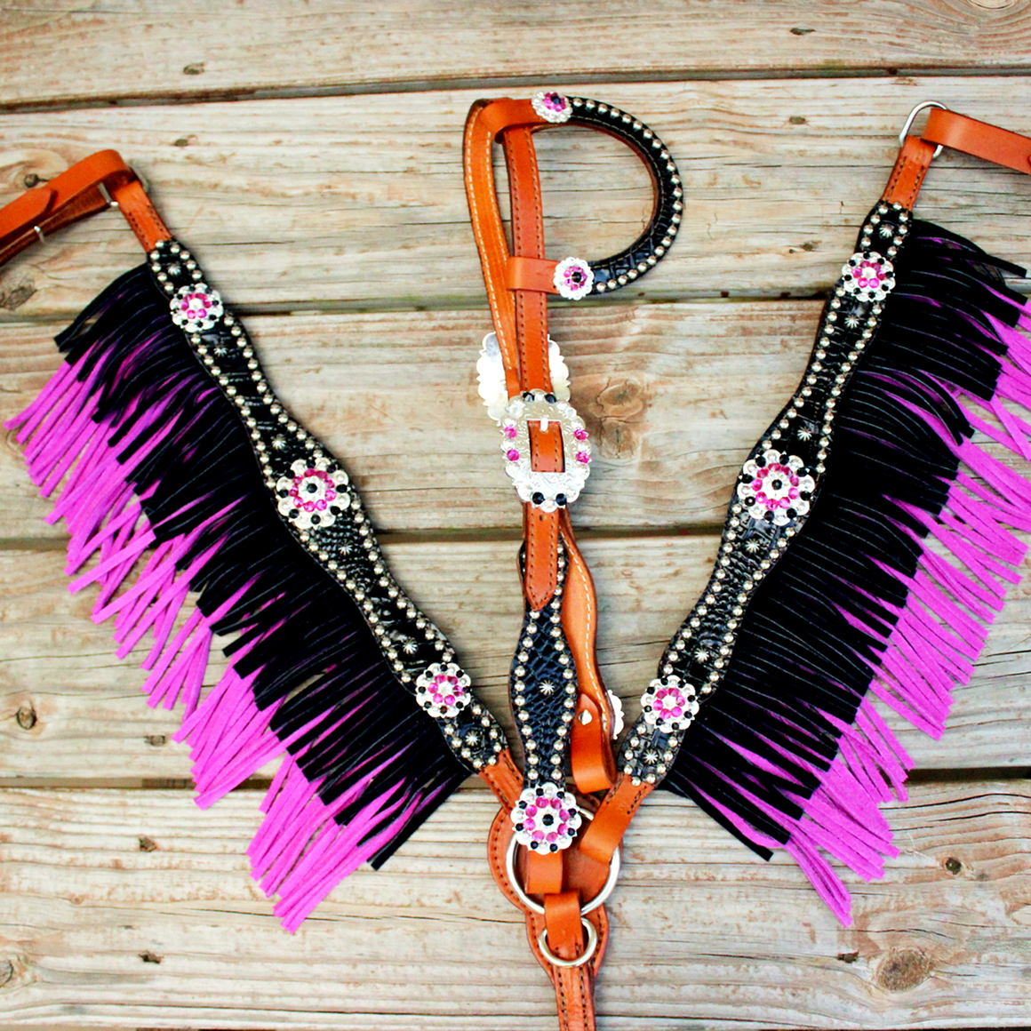 Custom DOUBLE Fringe One Ear Tack Set