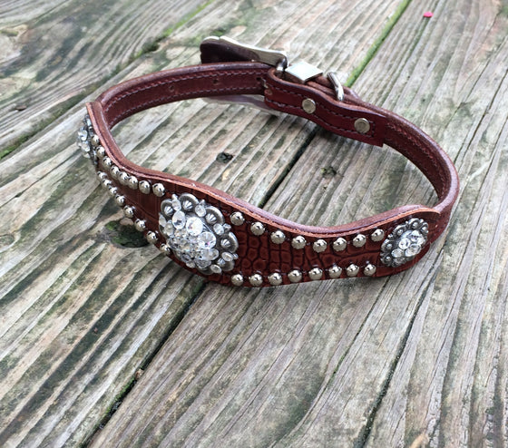 Cordova Brown Gator Scallop Dog Collar w/ Crystal Rhinestone Conchos & Buckle