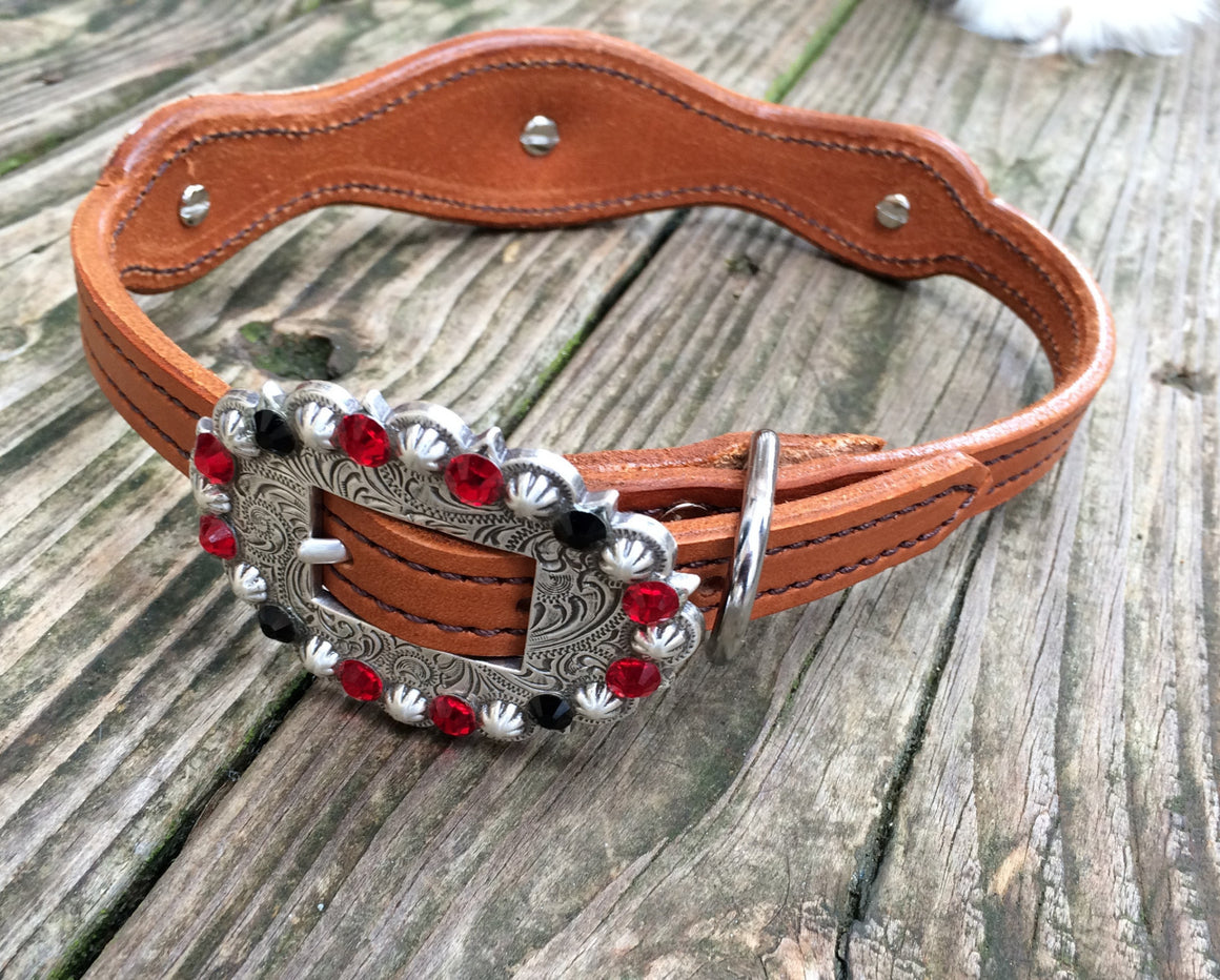 Red Filigree Scallop Dog Collar w/ Jet Black, Red & Clear Rhinostone Conchos & Buckle