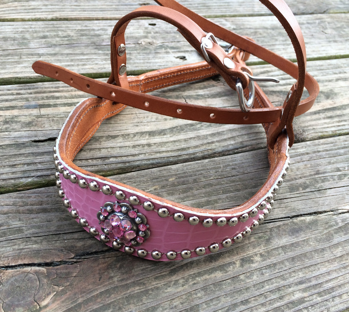 Pink Gator/Tan Leather Tie Down w/Pink & Light Pink Crystal Rhinestone Concho