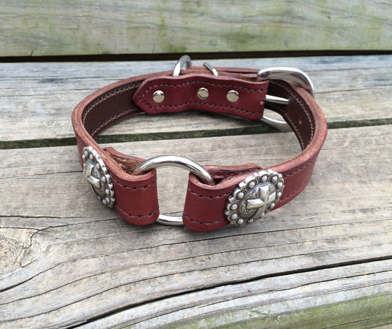 Heavy Duty Chestnut Leather 1 Inch Center Ring Dog Collar Cross Conchos