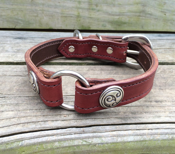 Heavy Duty Chestnut Leather 1 Inch Center Ring Dog Collar Celtic Conchos