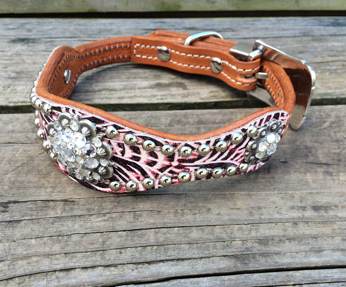 Pink Filigree Scallop Dog Collar w/ Clear Crystal Rhinostone Conchos & Buckle
