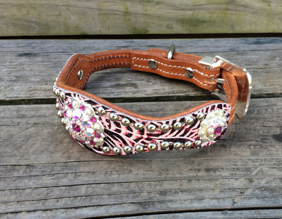 Pink Filigree Scallop Dog Collar w/ AB & Fuchsia Rhinostone Conchos & Buckle