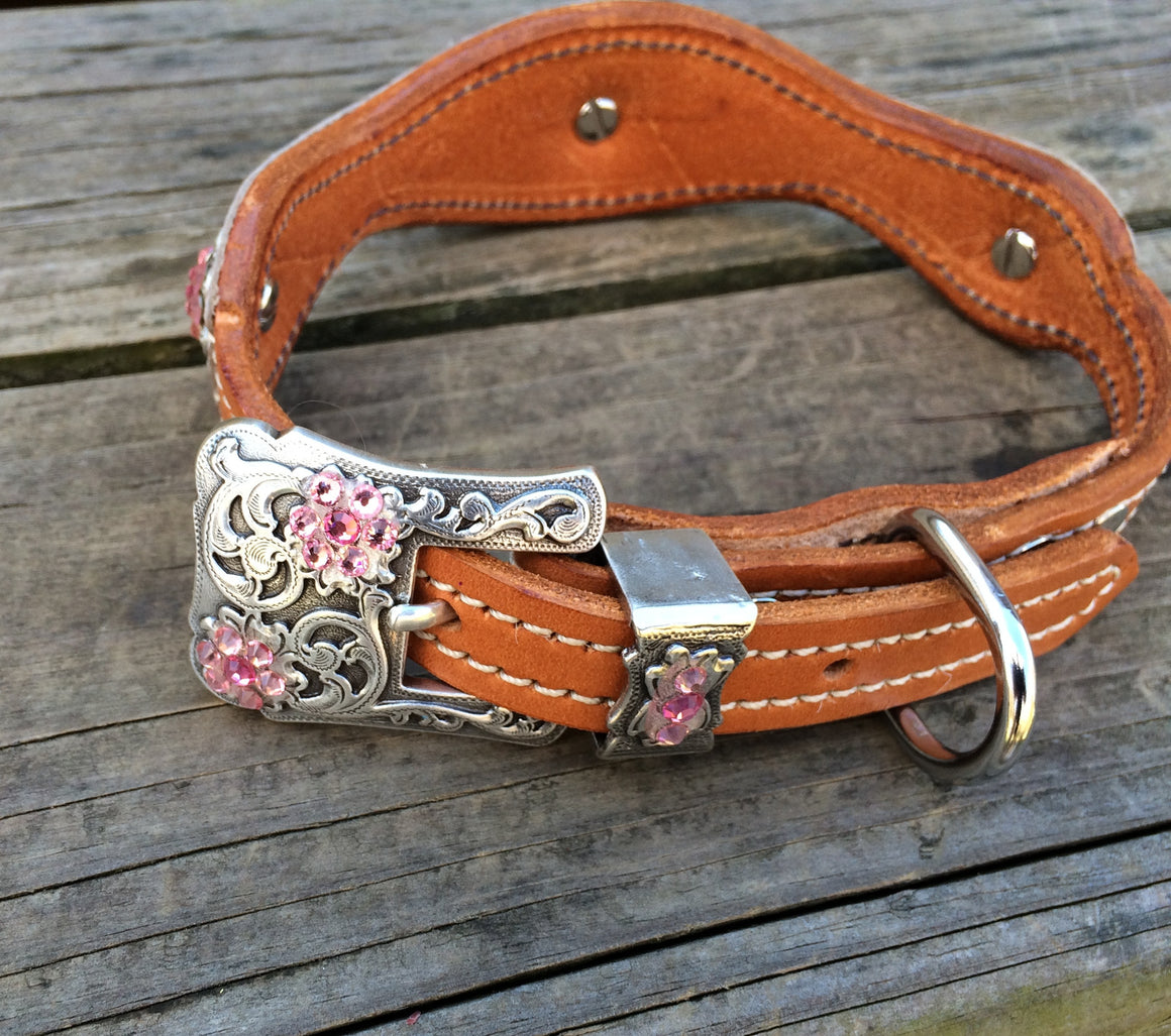 Pink Filigree Scallop Dog Collar w/ Pink & Light Pink Rhinostone Conchos & Buckle