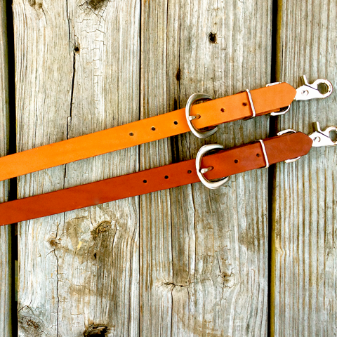 1 Inch Premium Bridle Leather Wither Strap Tan or Chestnut