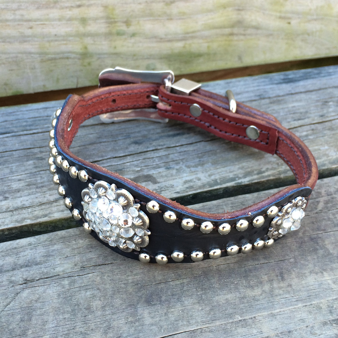 Black Gator Scallop Dog Collar w/ Crystal Clear Rhinostone Conchos & Buckle