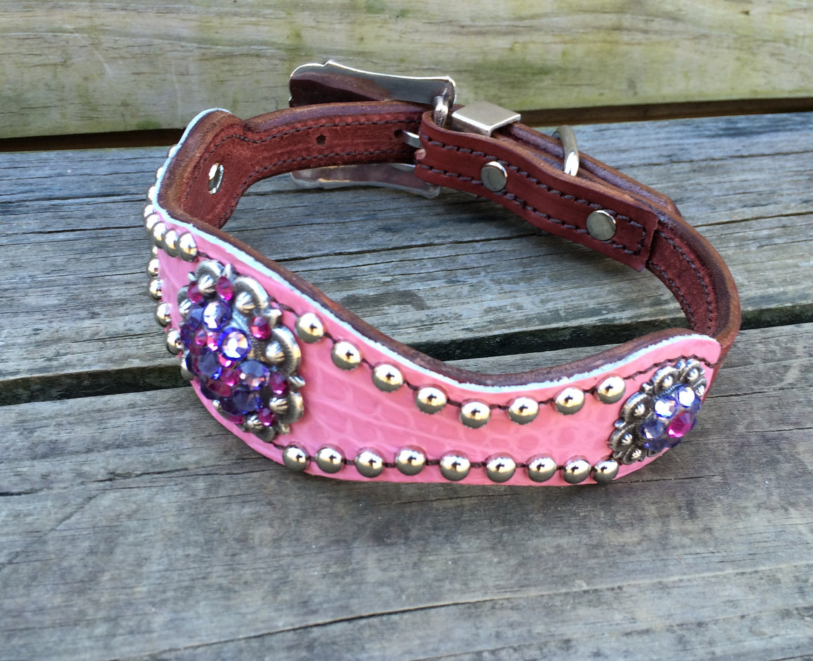Pink Gator Scallop Dog Collar w/ Purple & Fuchsia Rhinostone Conchos & Buckle