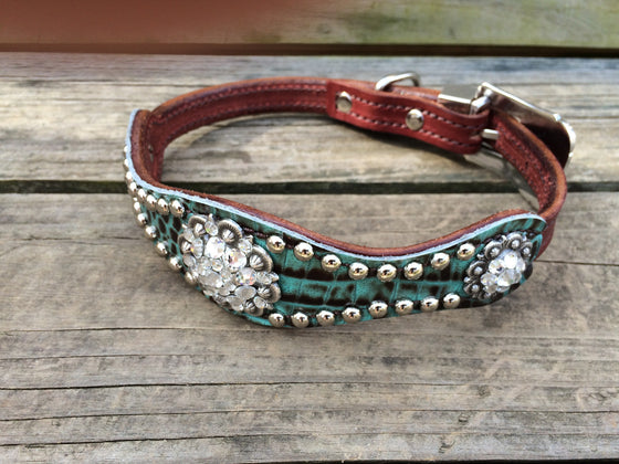 Teal & Brown Gator Scallop Dog Collar w/ Clear Crystal Rhinostone Conchos & Buckle