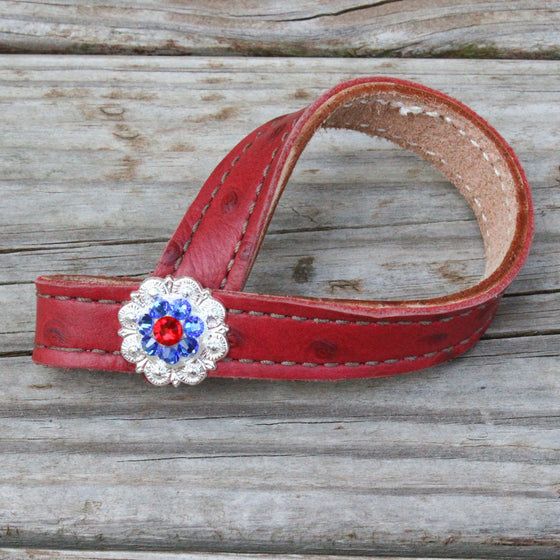 Red Ostrich TieDown Keeper w/Red & Saphire Crystal Rhinestone Concho